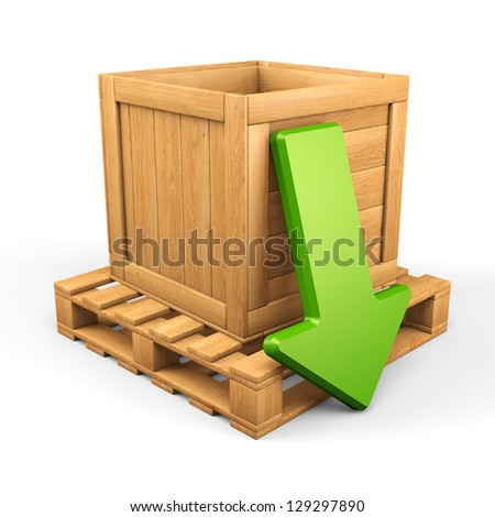 Upload/download concept. Wooden box on pallet and green arrow isolated on white. 3d illustration