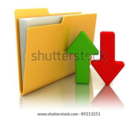 upload download folder icon 3d illustration