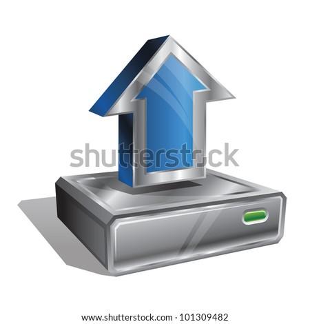 Upload the file to server icon, isolated on white background. Stylized icon