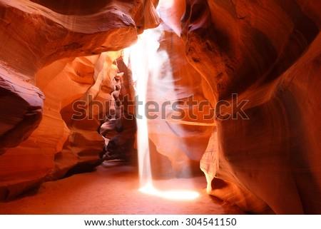 Upper Antelope Slot Canyon Showing a Light Beam into the Canyon, Page, Arizona, USA.