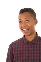 Upper body caption of hispanic male model smiling