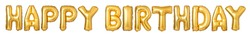 Upper case letters HAPPY BIRTHDAY from golden balloons
