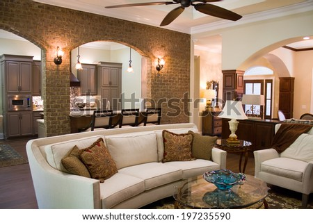 Upper class executives home interior furnished and decorated with expensive luxury furniture and accessories.