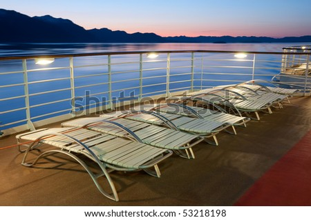 Upper deck of a cruise ship at night
