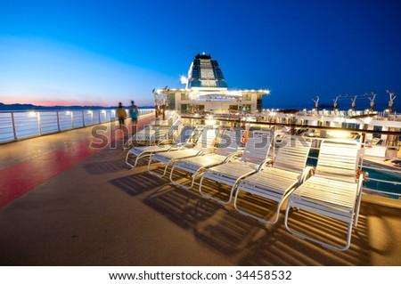 Upper deck of a cruise ship in Alaska