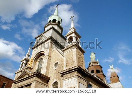 Upper detail and side view of Notre Dame de Bonsecours Chapel in Montreal