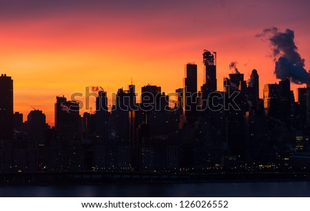 Upper  East side of New York city as a backdrop to magnificent sunrise