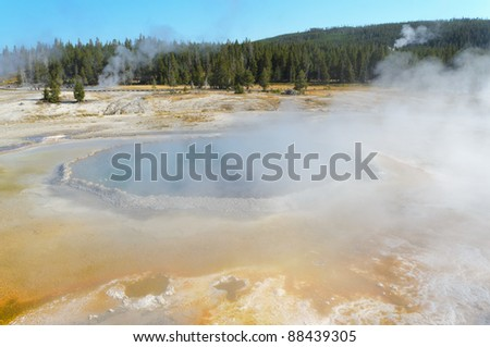 Upper Geyser Basin pools and steam vents - stock photo