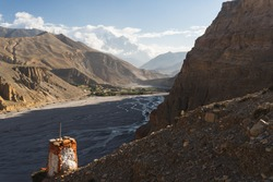 Upper Mustang landscape veiw from Chele village, Himalaya mountains range in Nepal, Asia