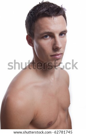 stock photo upper part of semi naked male s body isolated on white 62781745 Full body nude male , full frontal pose , B&W Slide Scala , studio , ...