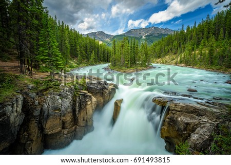 Upper Sunwapta Falls in Jasper National Park, Canada. The water originates from the Athabasca Glacier. Long exposure. #691493815