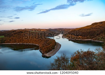Upper Sure lake at Luxembourg. The picture was taken in the Nature Park of the Upper Sure Lake in October 2018.