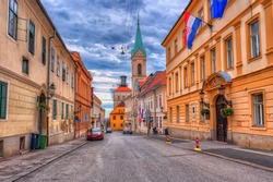 upper town in Zagreb called Gornij Grad - historical part of Zagreb with middle age houses and churches.