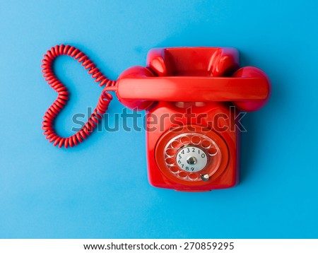 upper view of red phone with...