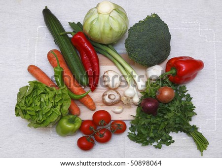 Upper view of various salad ingredients on a table cloth.