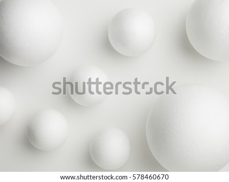 upper view of white spheres on a white background #578460670
