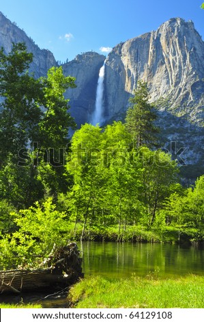 Upper Yosemite Falls on a gorgeous day. Yosemite National Park, California