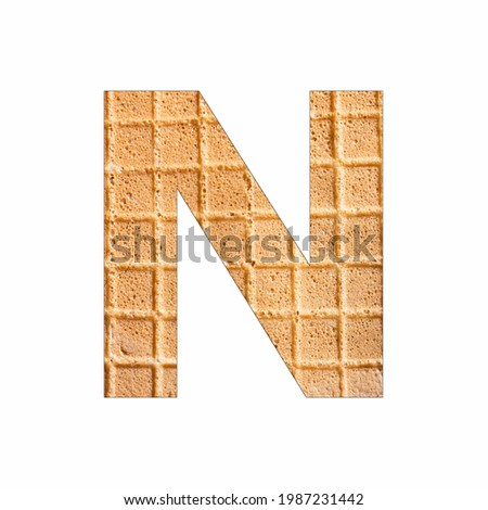 Uppercase Alphabet Letter N - Wafer close-up texture Foto stock ©