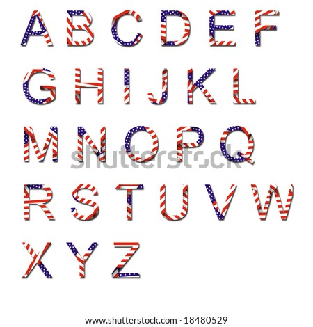 Uppercase American Flag drop shadowed alphabet - stock photo