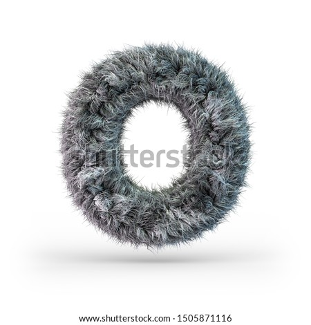 Uppercase fluffy and furry gray font. Letter O. 3D rendering