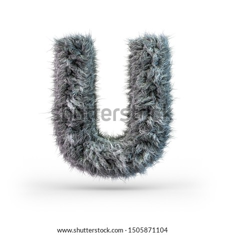 Uppercase fluffy and furry gray font. Letter U. 3D rendering