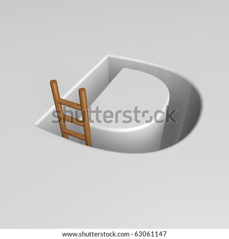 uppercase letter d shape hole with ladder - 3d illustration