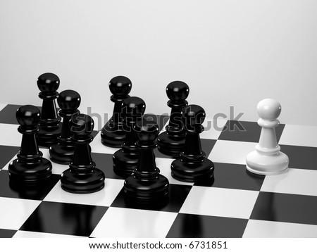 Upright black chess