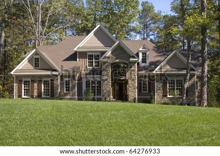Upscale house in wooded area