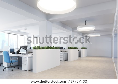 Upscale office interior with white walls, a concrete floor, rows of computer desks and flower beds. Corner. 3d rendering mock up