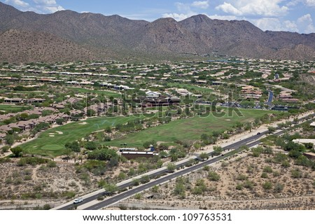 Upscale Scottsdale, Arizona homes and golf course