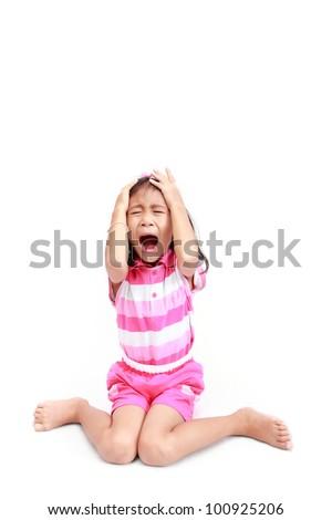 Upset almost crying little girl afraid of something - stock photo