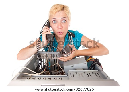 upset blond woman having problems with computer phoning support