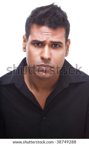 Upset businessman with a deep frown looking very disappointed.