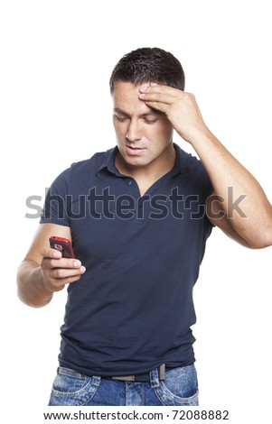 upset man looking at his cellphone