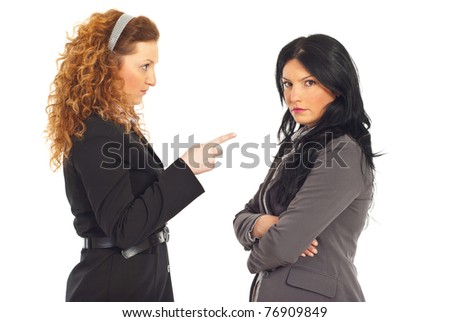Upset manager pointing to employee woman and arguing isolated on white background