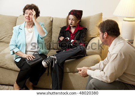 Upset mother seeks counseling with her rebellious teenage daughter.