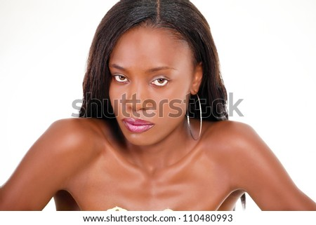 Upset woman looking at you - stock photo