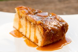Upside down banana cake with coconut and caramel