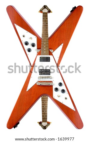 "Upside Down ""Flying V"" Guitars Isolated Over White"