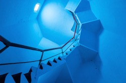 Upside view of a spiral staircase in a lighthouse