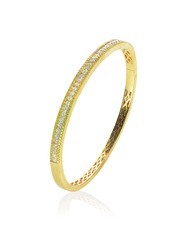 Upstanding yellow gold diamond bracelet isolated on white with a reflection