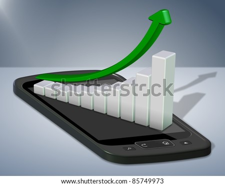 Upward chart arrow positioned on top of a mobile phone / Mobile phone chart