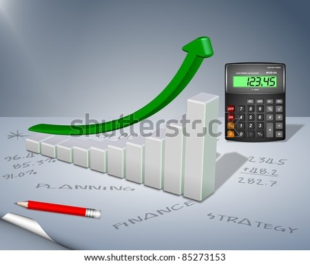 Upward chart arrow with a calculator and a pencil / Business planning