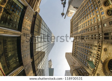Upward fisheye view of Manhattan Tall Skyscrapers -  New York City, U.S.A.