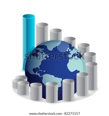 upward globe chart illustration design