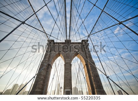 Upward image of Brooklyn Bridge in New York #55220335