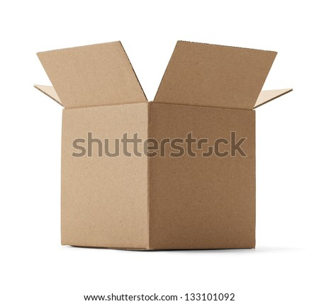 Upward view of a brown cardboard box isolated on a white background.