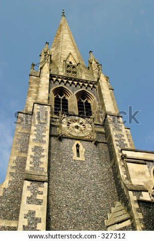 Upward view of a church spire - stock photo