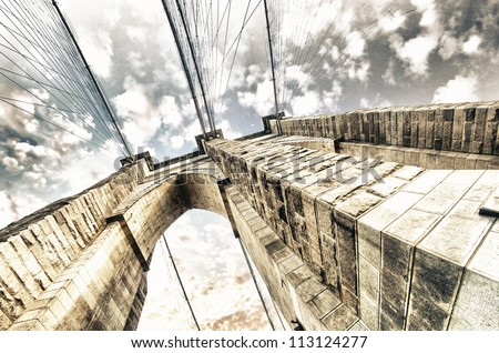 Upward view of Brooklyn Bridge Pylon - New York - USA