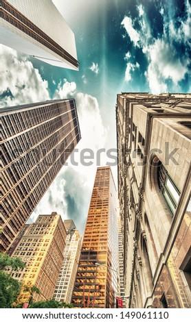 Upward view of Skyscrapers in lower Manhattan - New York City. #149061110